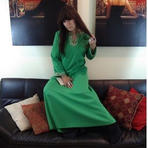 Gorgeous green kaftan with gold embroidery